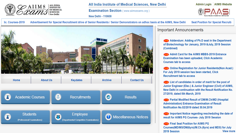 AIIMS MBBS Admit Card 2019 released at aiimsexams.org, check steps to download