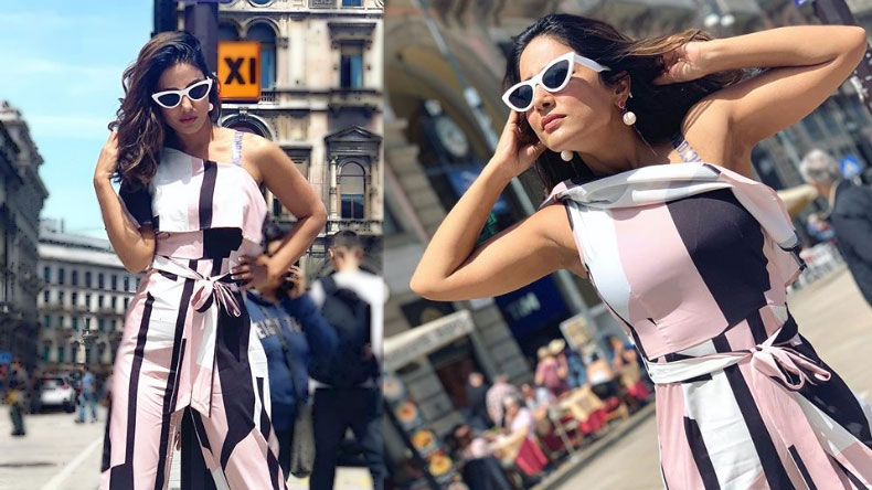 Hina Khan exudes summer vibes in a pink jumpsuit and stylish sunglasses