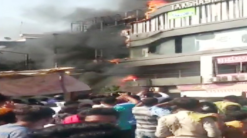 Fire broke out on the second floor of Takshila shopping complex.