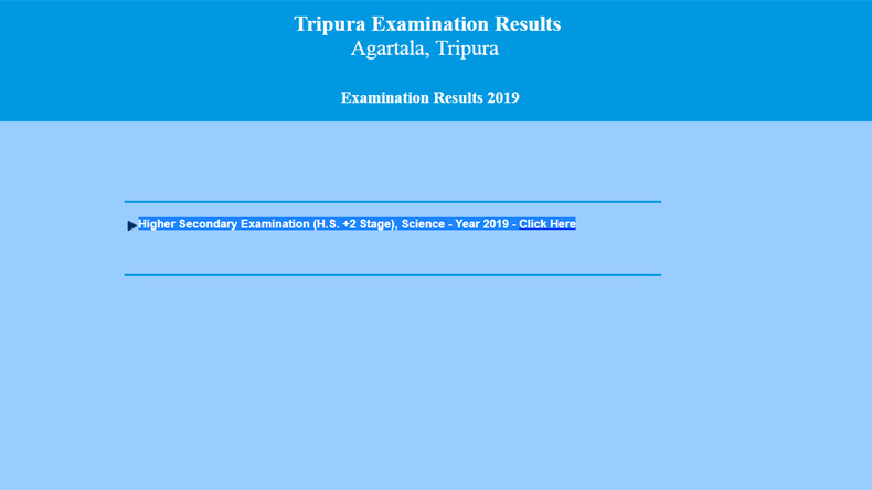 Screen grab of the official website of the Tripura Board of Secondary Education (TBSE).