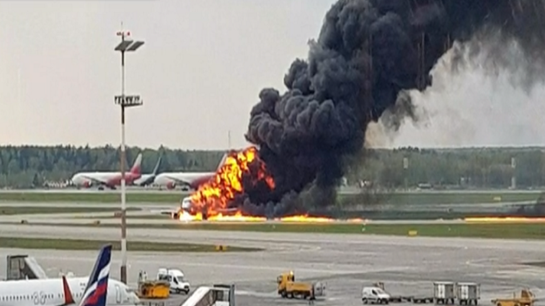 Russian passenger plane catches fire, 41 killed, several injured