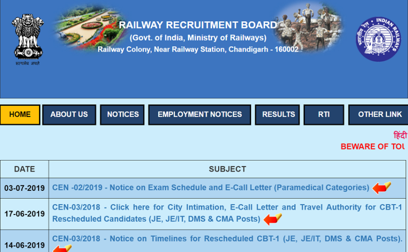 RRB Paramedical Exam 2019 date: Railway Recruitment Board to