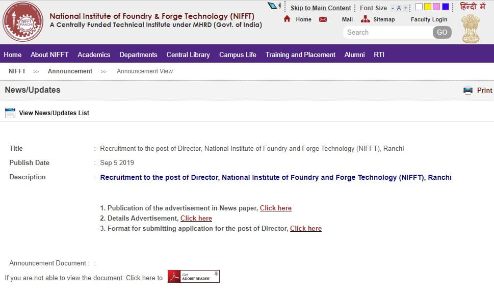 NIFFT recruitment 2019: Applications invited for director post, know how to apply