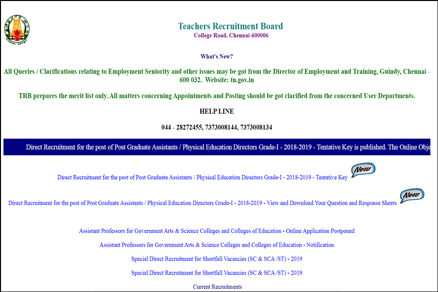 TN TRB PG Assistant/ Physical Education Director Exam Answer Key 2019 released on trb.tn.nic.in